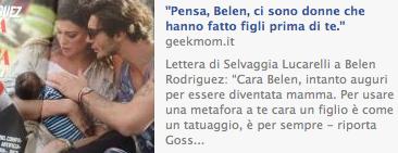 articolo su Belen fb